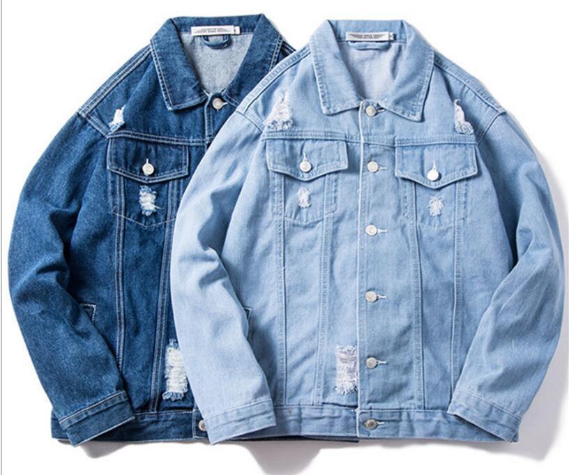 denim buco giacca coreana di tendenza bel paio sciolto Giacca di jeans da uomo Primavera Top a maniche lunghe CAPPOTTO monopetto Outerwear