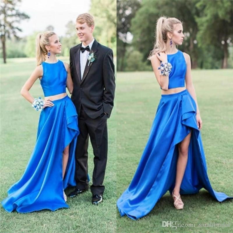 Unique Design Two Pieces Prom Dresses Jewel Sweep Train Special Occasion Dress Sexy Formal Party Evening Gowns