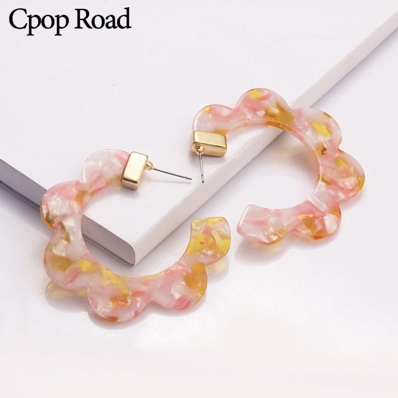 Cpop Nouveau géométrique Pétale Leopard Boucles d'oreilles pour les femmes Acetate Résine Mode Résine acrylique Boucles d'oreilles Hoops bijoux à la mode 2020