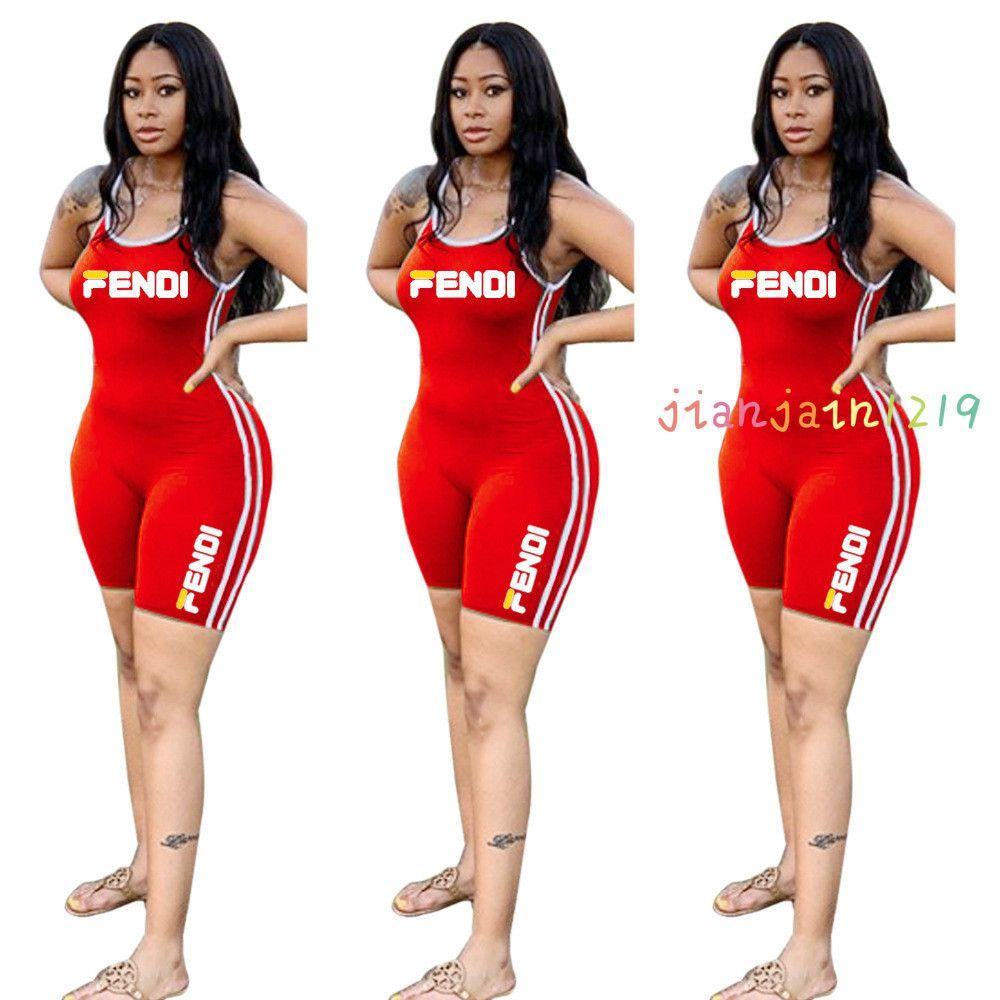 K8001 European and American fashion letter offset sling sleeveless jumpsuit side stripe suit jumpsuit women