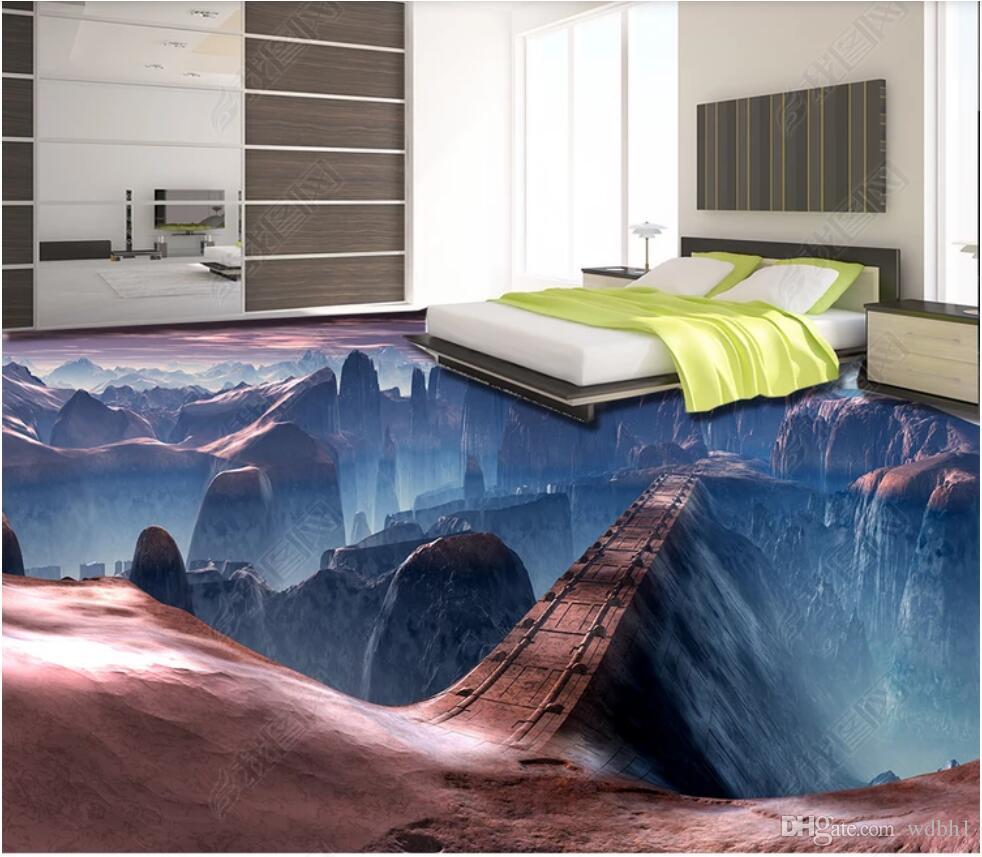 3d pvc الأرضيات مخصص صور جميلة لعبة المشهد جسر 3d ستيريو اللوحة 3d الجداريات ورق الحائط
