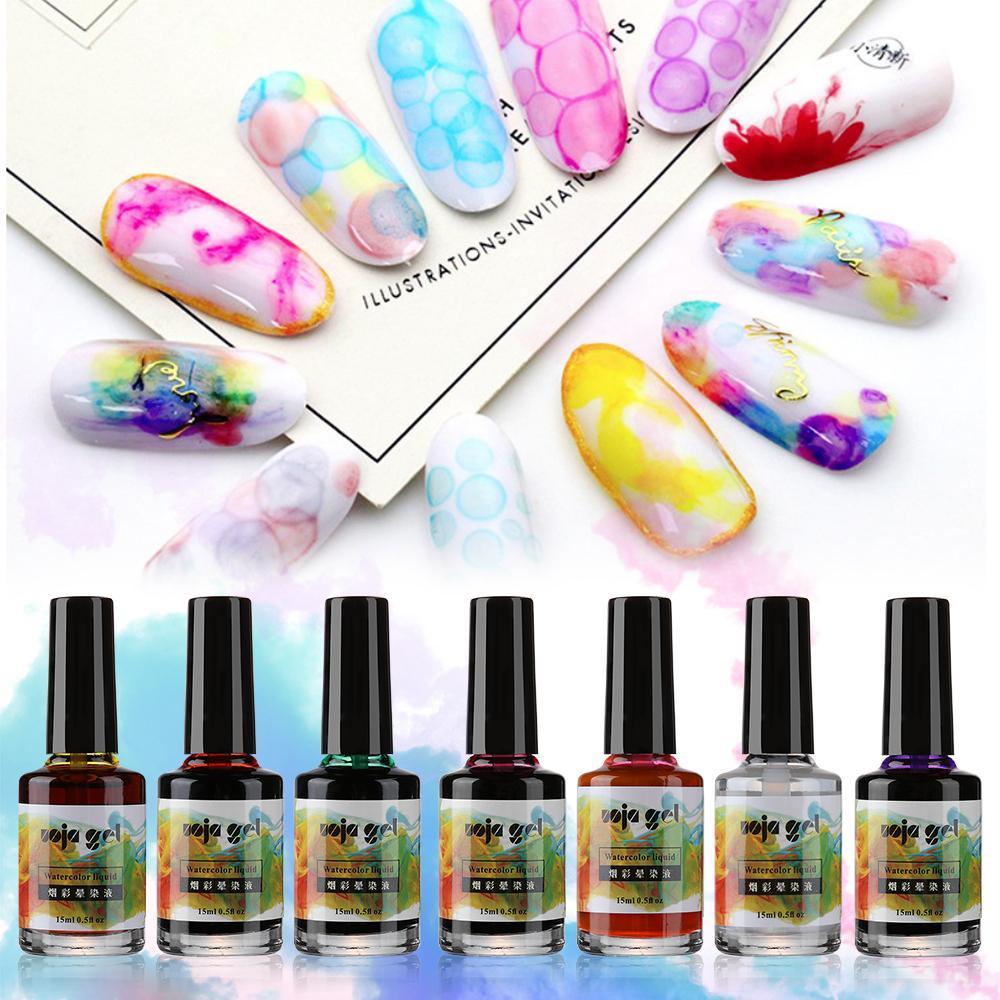 네일 연기 버블 수채화 잉크 치료 네일 겔 폴란드어 UV 잉크 수채화 대리석 폴란드어 아트 연기 색 얼룩 기포