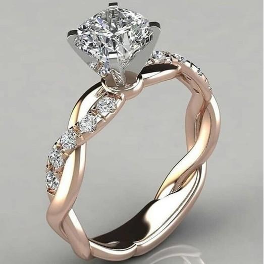 anel 18k europeus e americanos liga venda quente rosa chapeamento dois tons de ouro, anel da princesa torção torção diamante