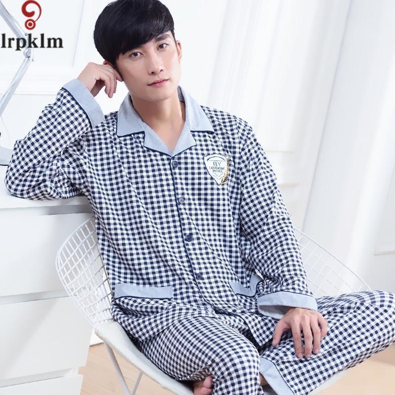 de homens Pijamas Primavera Outono manga comprida Pijamas algodão xadrez Cardigan Pijamas Homens Salão Pajama Define M-6XL sono SY7281