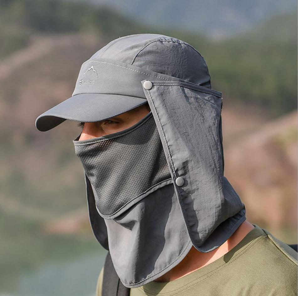 남성 양산 낚시 모자 야외 통기성 하이킹 캠핑 UV 보호 얼굴 목 표지 챙 모자 야구 모자 LJJO7668