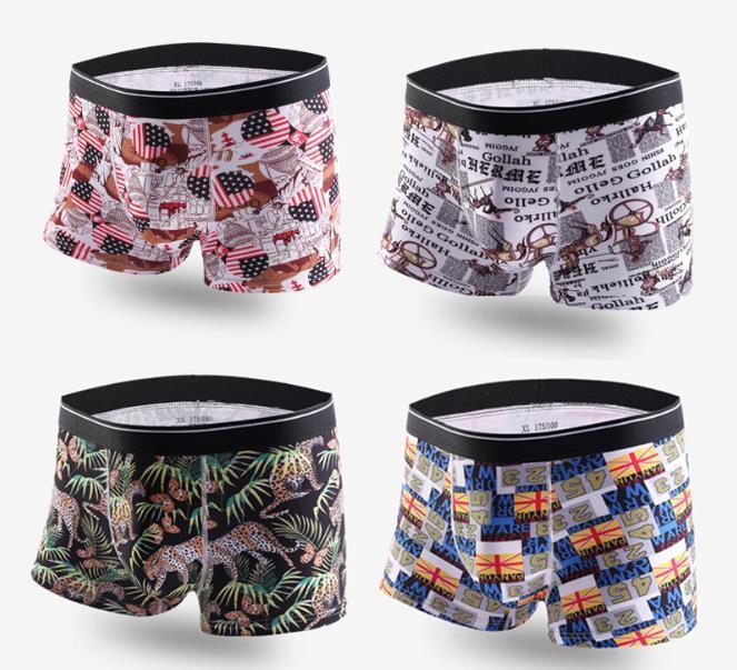 Novas cuecas underwear confortável suave Mens Cuecas de algodão respirável Boxers Mens Moda Imprimir Casual Mens Sexy