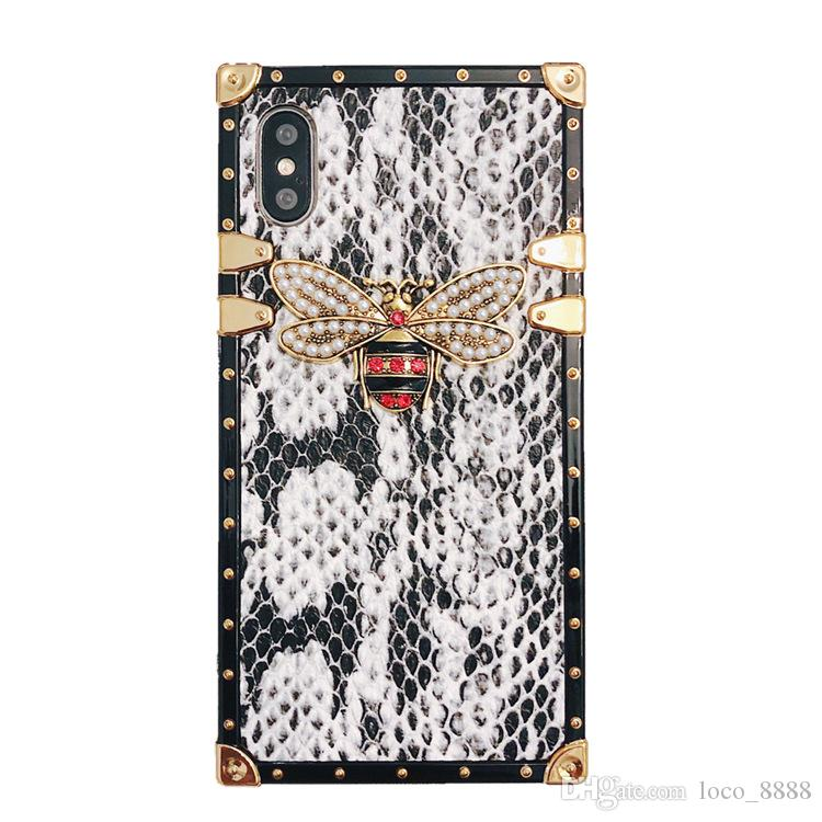 Luxury Designer Snake Skin Bee Phone Case For iPhone 11 Pro Max Xr Xs X Case Square Silicone Case For iPhone 6S 8 7 Plus 6 Fundas