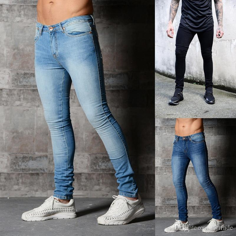 2021 Skinny Jeans For Men Blue Hip Hop Long Stretch Jeans Hombre Slim Fit Fashion Ankle Tight Streetwear Male Pants From Gytrade 30 12 Dhgate Com