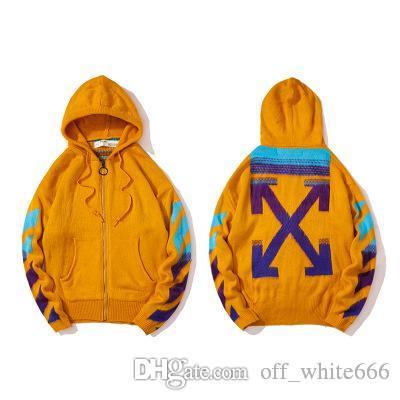Hommes chandails à capuchon gradient flèche hippocampe deux zipper pull de haute qualité version correcte manteau de mode OW