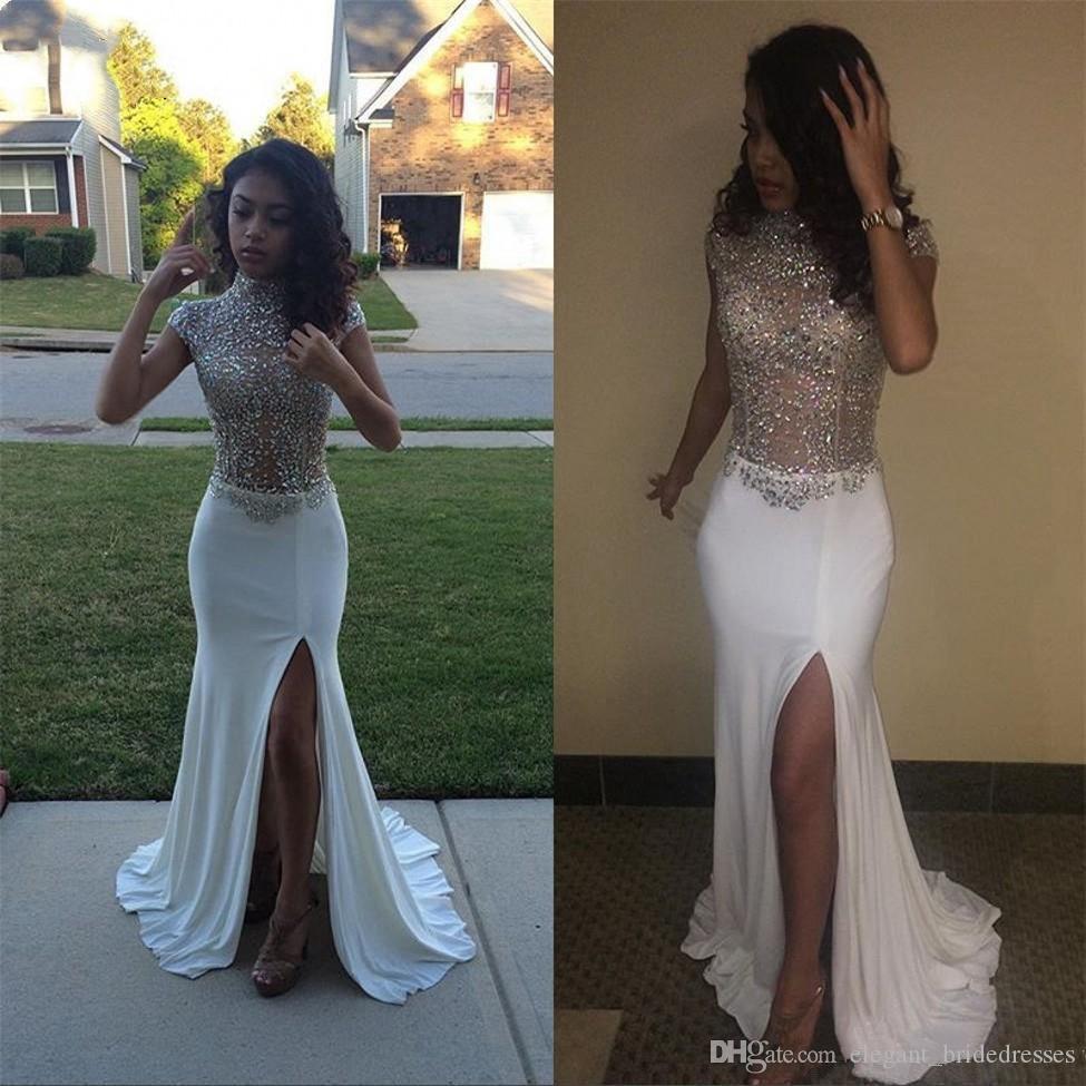 Long Sparkly Prom Dresses 2019 Sexy High Slit Cap Sleeve Heavy Beaded African High Slit Black Girl White Graduation Mermaid Evening Dresses
