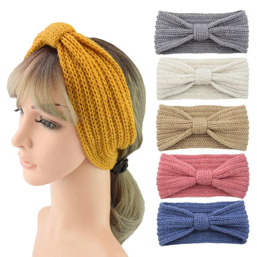 28 Couleurs Hiver Tricoté Bandeau Femmes Oreille Réchauffeur Noeud Hairband Lady Crochet Large Étirement Bandeau Turbans TTA1793