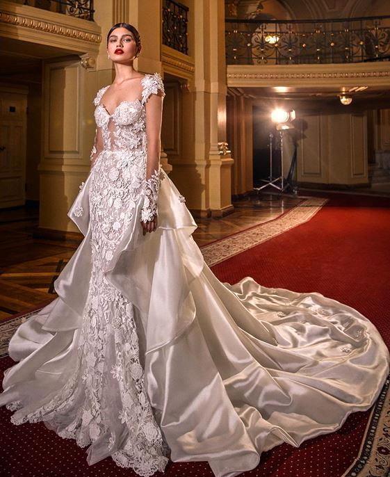 Vintage Lace Appliqued Mermaid Wedding Dress With Detachable Train Sexy Long Sleeves Sheath Plus Size Beach Bohemian Bridal Gown BC3069