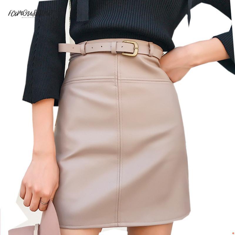 Printemps Nouveau Beige Noir A-Line Wear En Cuir Jupe Pour Les Femmes Taille Haute Bureau Faux En Cuir Pu Jupes Femme Jupe Courte Avec Ceinture