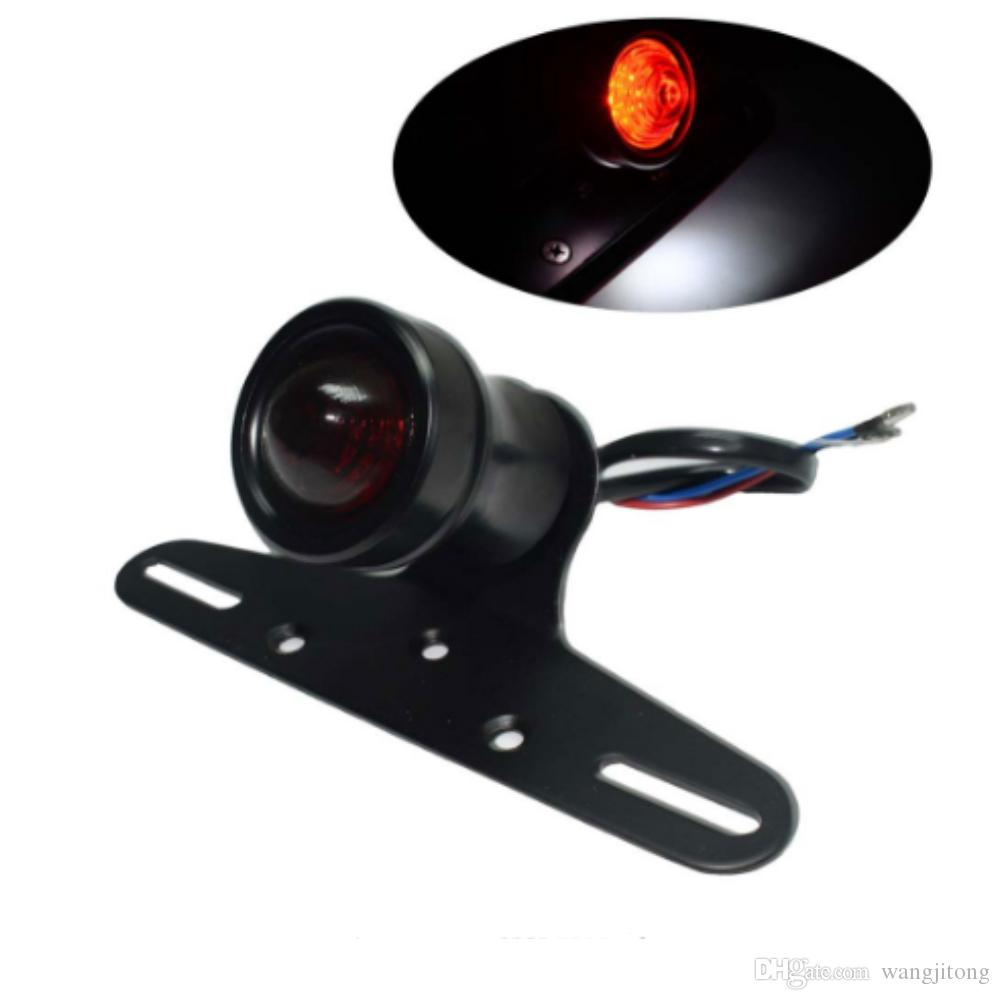 أسود العالمي للدراجات 12 فولت led ريترو الأحمر الخلفية الذيل دراجة الفرامل إيقاف ضوء مصباح ث / لوحة ترخيص جبل ل هارلي المروحية