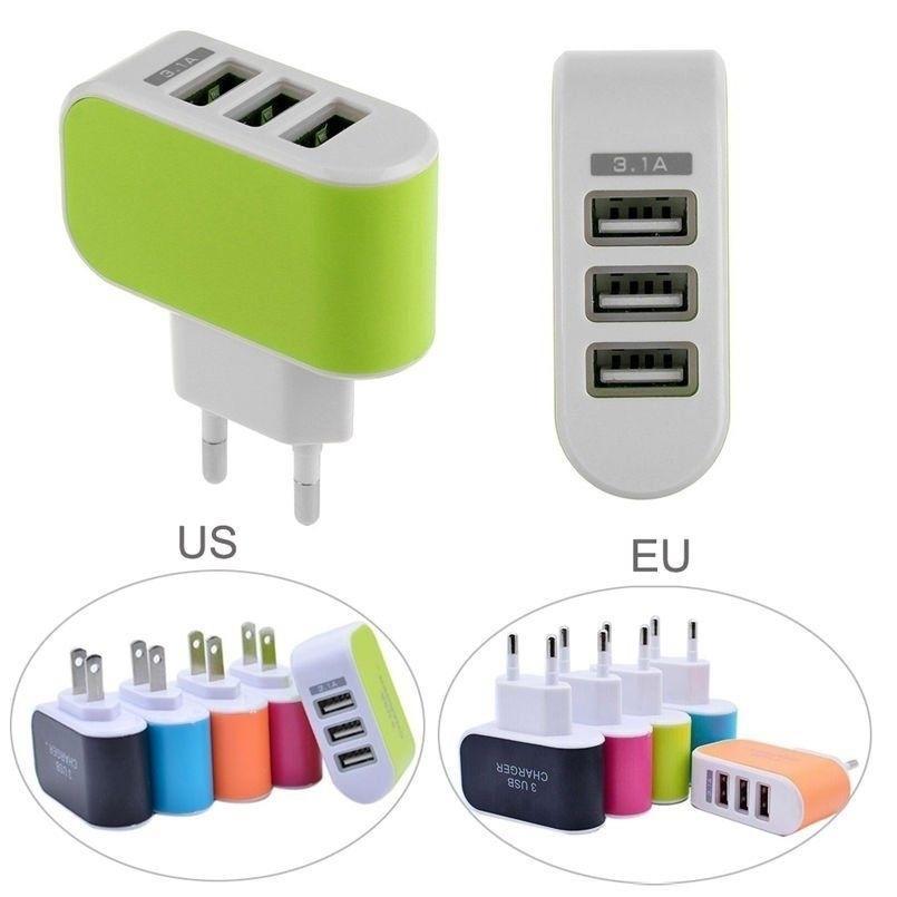 범용 3.1A 트리플 USB 3 포트 벽 홈 여행 AC 충전기 어댑터 US / EU 플러그