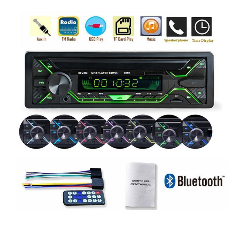 مشغل راديو السيارة Autoradio Bluetooth MP3 USB TF AUX ID3 مشغل FM speakerphone 1DIN Stereo Radio MP3 Multimedia