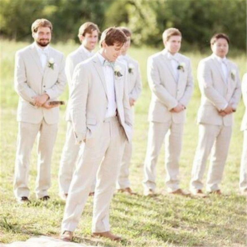 Summer Beige Linen Men Suits For Wedding Suits Groom Attire Custom Bridegroom Outfits Slim Fit Casual Best Man Blazer 2Piece Jacket+Pants