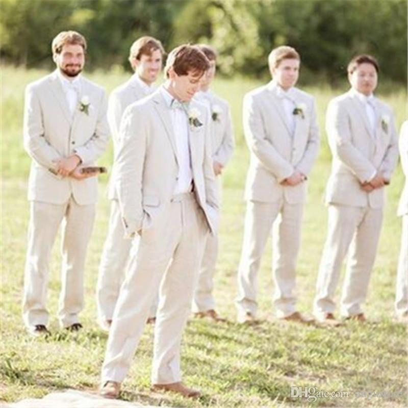Sommer Beige Leinen Männer Klagen für Hochzeits-Klage-Bräutigam-Kleidung Individuellen Bräutigam Outfits Slim Fit beiläufigen Besten Mann Blazer 2Piece Jacket + Pants