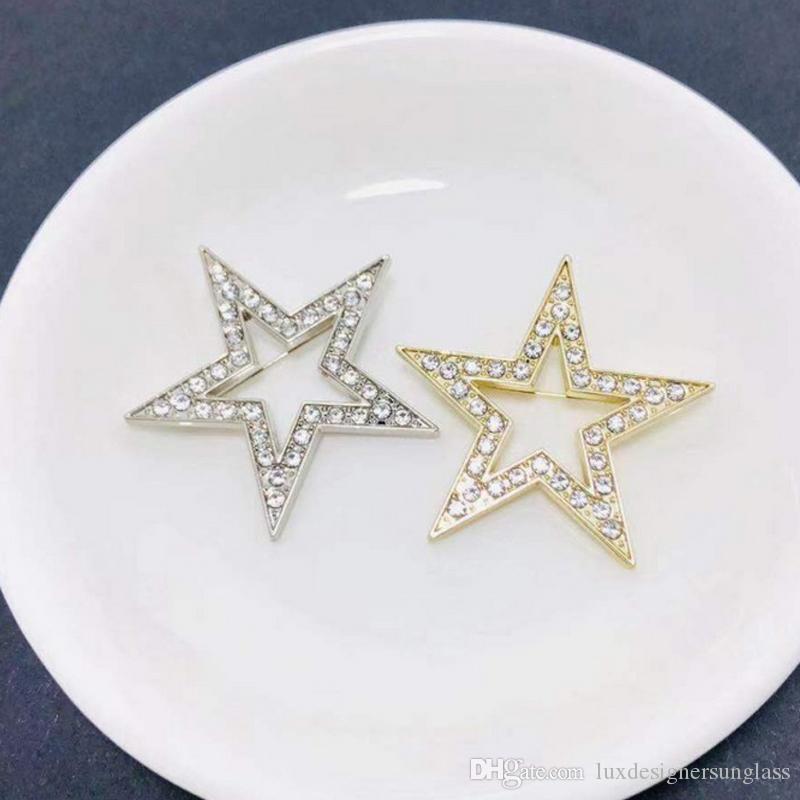 Hombres Mujeres broche estrella de Bling Bling de la estrella del Rhinestone de la broche de joyería juego Pin de la solapa Accesorios de Moda Oro Plata
