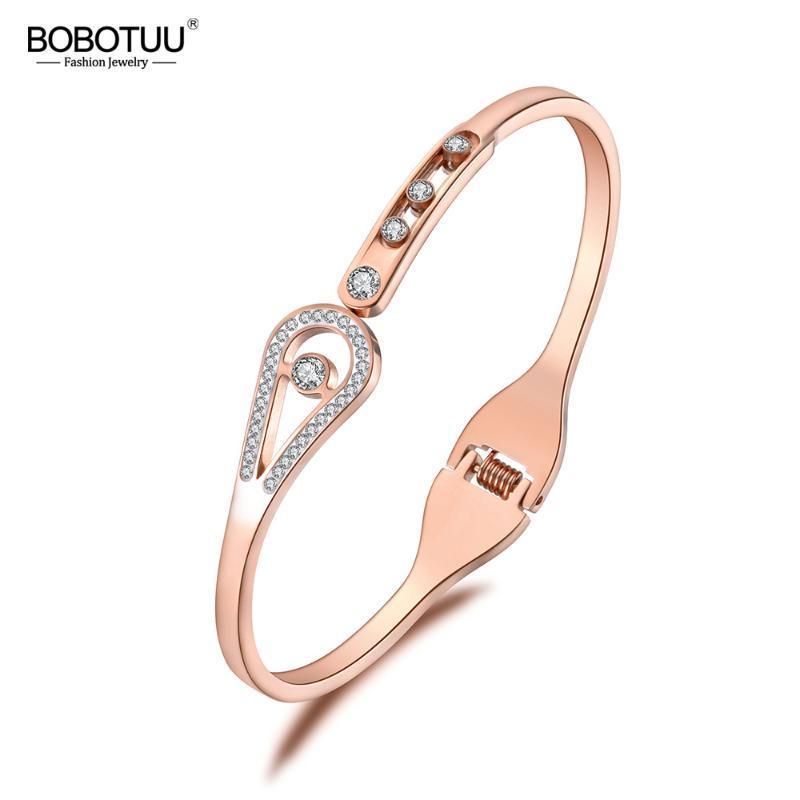 Gioielli BOBOTUU Bracciale in acciaio inossidabile zirconi per le donne strass vichingo del braccialetto dei braccialetti regalo di San Valentino BB19005