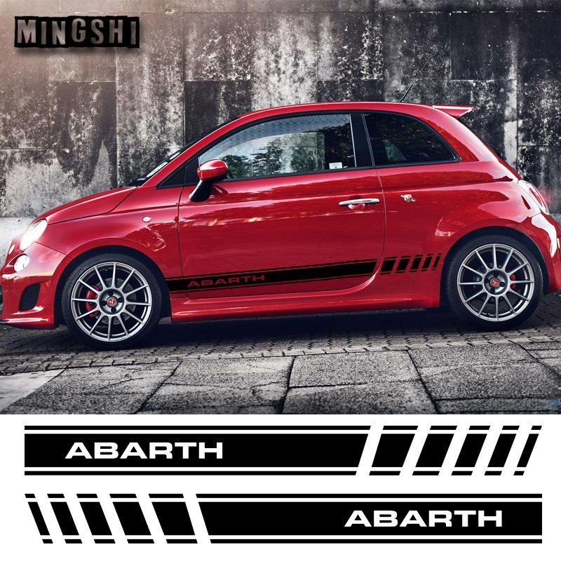 1 paio 2 lati Vinyl Car Styling Abarth Skirt Skirt Sticker Sticker Decalcomanie Striscia Involucri Adesivi per il corpo per Fiat 500