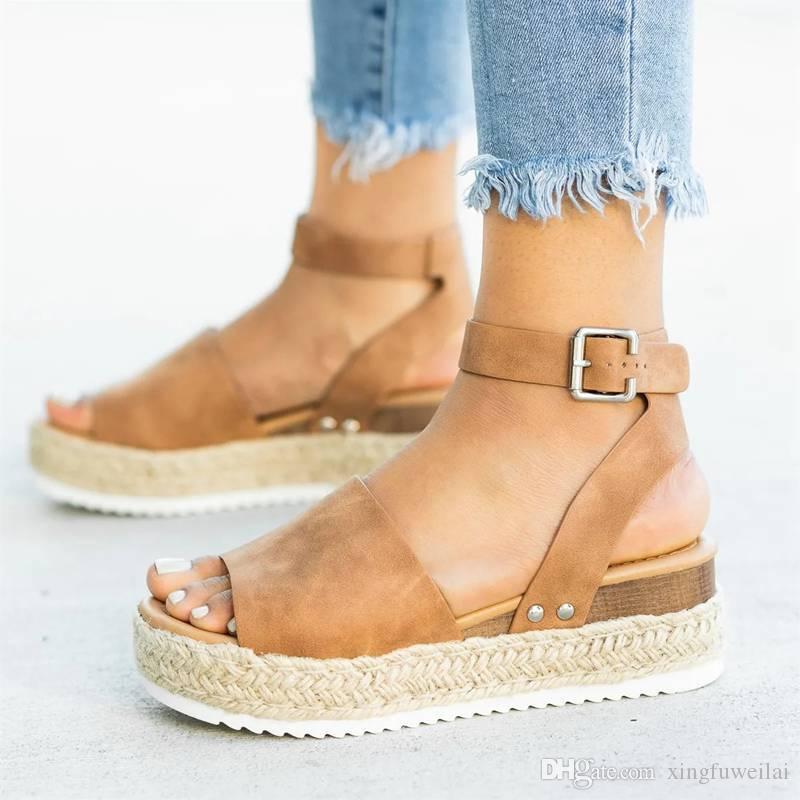 Sandalias de mujer Tallas grandes Zapatos para mujer Sandalias de tacón alto Zapatos de verano 2019 Flip Flop Chaussures Femme sandalias de plataforma