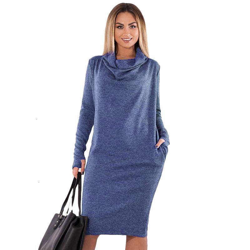 Ropa de mujer diseñador del vestido 5Xl 6XL más el tamaño de vestido de invierno 2019 mujeres grandes de la vendimia vestido de la oficina de gran tamaño Mujer con los bolsillos Trabajo