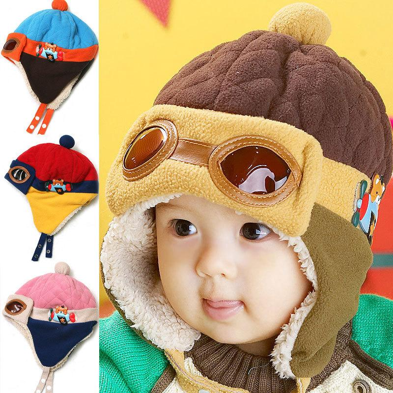 Cute Baby Winter Hat Infant Pilot Cap Toddlers Cool Baby Boys Girls Children Winter Warm Kids Knitted Hats Cap For 0-48 Month