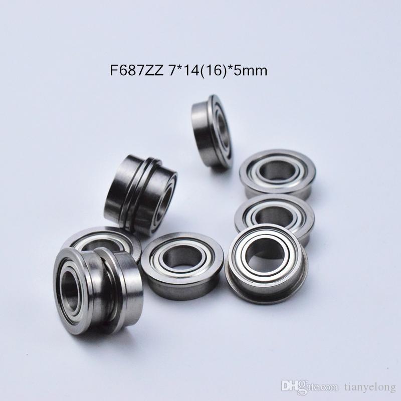 F687ZZ 플랜지 베어링 687 F687Z의 F687ZZ 7 * 1,416 * 5mm 크롬강 깊은 홈 베어링