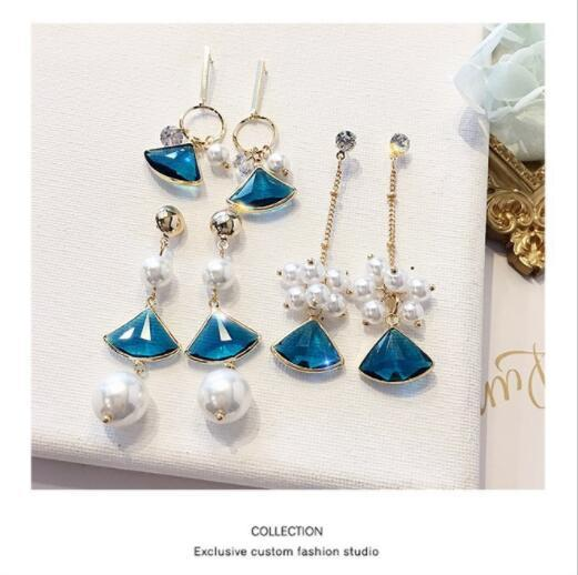 Creative Personality Fashion Long Zircon Sapphire Earrings