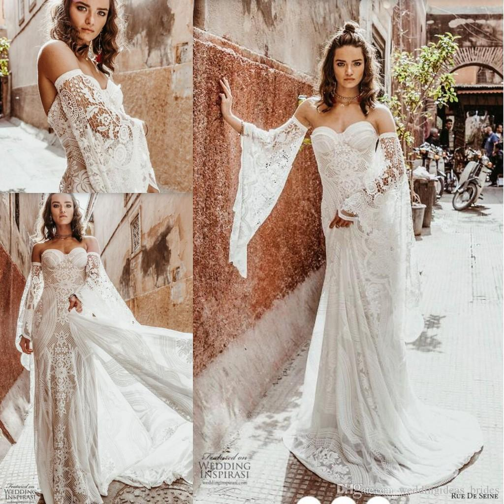 2020 Rue De Seine Bohemian Wedding Dresses with Bell Long Sleeve Vintage Crochet Cotton Lace Country Woodland Bridal Beach Wedding Gown