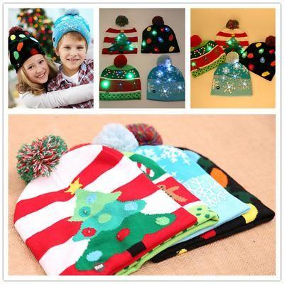 Cap Beanie Natal Hat Beanie LED Gorro Light Up Festivais Partido Xmas Chapéus de Inverno Cap Quente crianças Acessórios 3 cores LJJK1898
