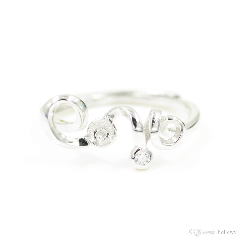 Оптовая продажа мода S925 стерлингового серебра кольцо крепления прекрасный дизайн для женщин жемчужные украшения diy бесплатная доставка