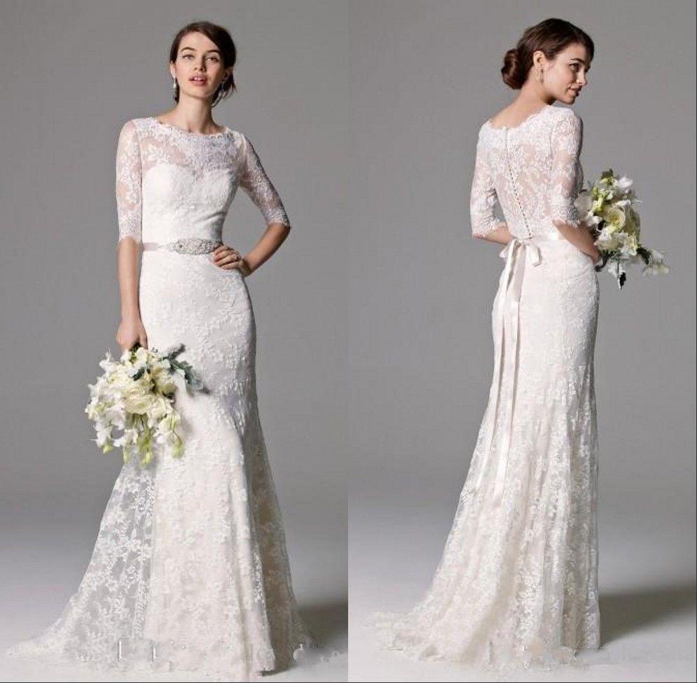 1/2 Sleeve Lace Mermaid Wedding Dresses with Beaded Sash Illusion Jewel Neck Floor Lenth Bridal Gown Cheap Beach Vestido de Novia