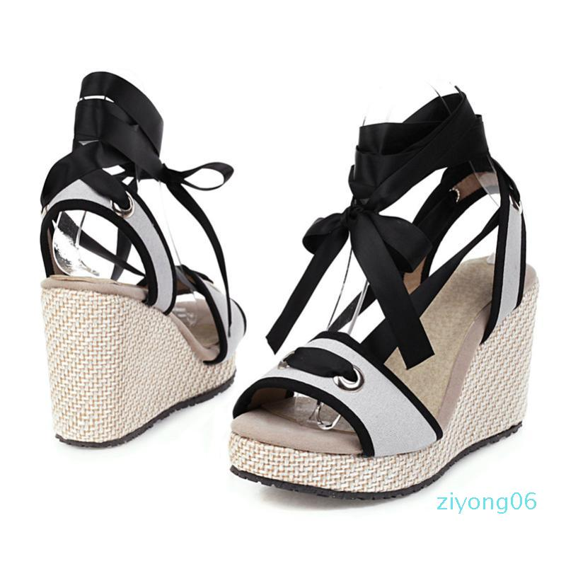 Meotina Women Shoes Summer Sandals Mixed Colors Platform Wedge Heels Ankle Strap Shoes Sexy Super High Heel Sandals Lady Size 43l z06