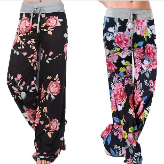 Женщины Йога Wide Leg Pant Цветочные печати Брюки Леди Сыпучие Длинные брюки высокой талией Спортивные штаны Повседневный Boho пляж Низ GGA3113