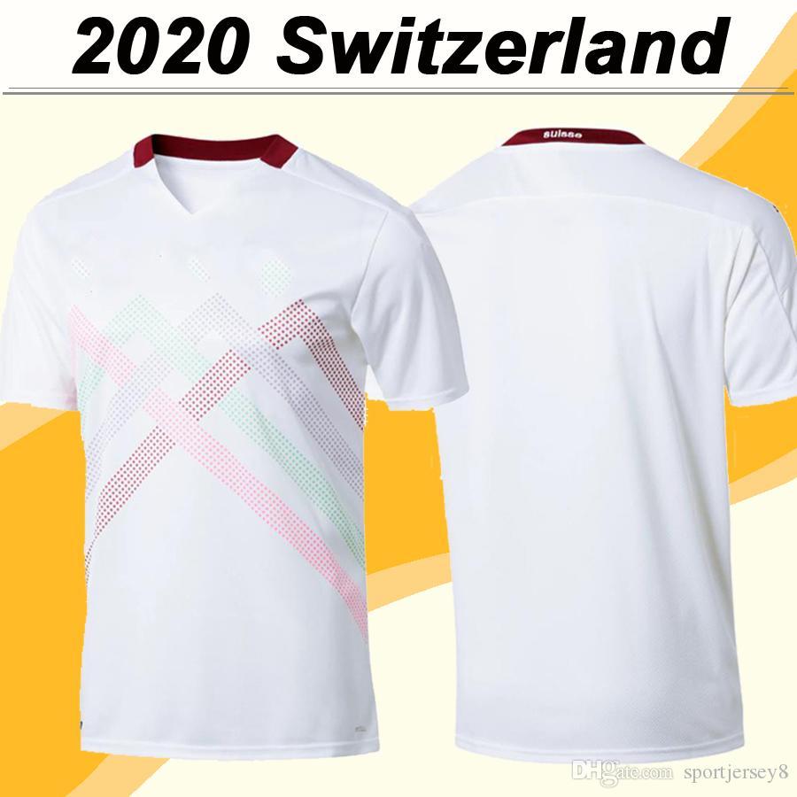 2020 Новый Сеферович мужские трикотажные изделия футбола Швейцария Национальная сборная EMBOLO Freuler Закария Shaqiri Away White маек форменная