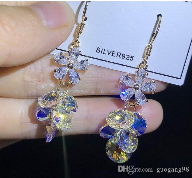 bas prix qualité hgih gros 2pcs / lots chaming diamant boucles d'oreilles en argent 925 (38bvb