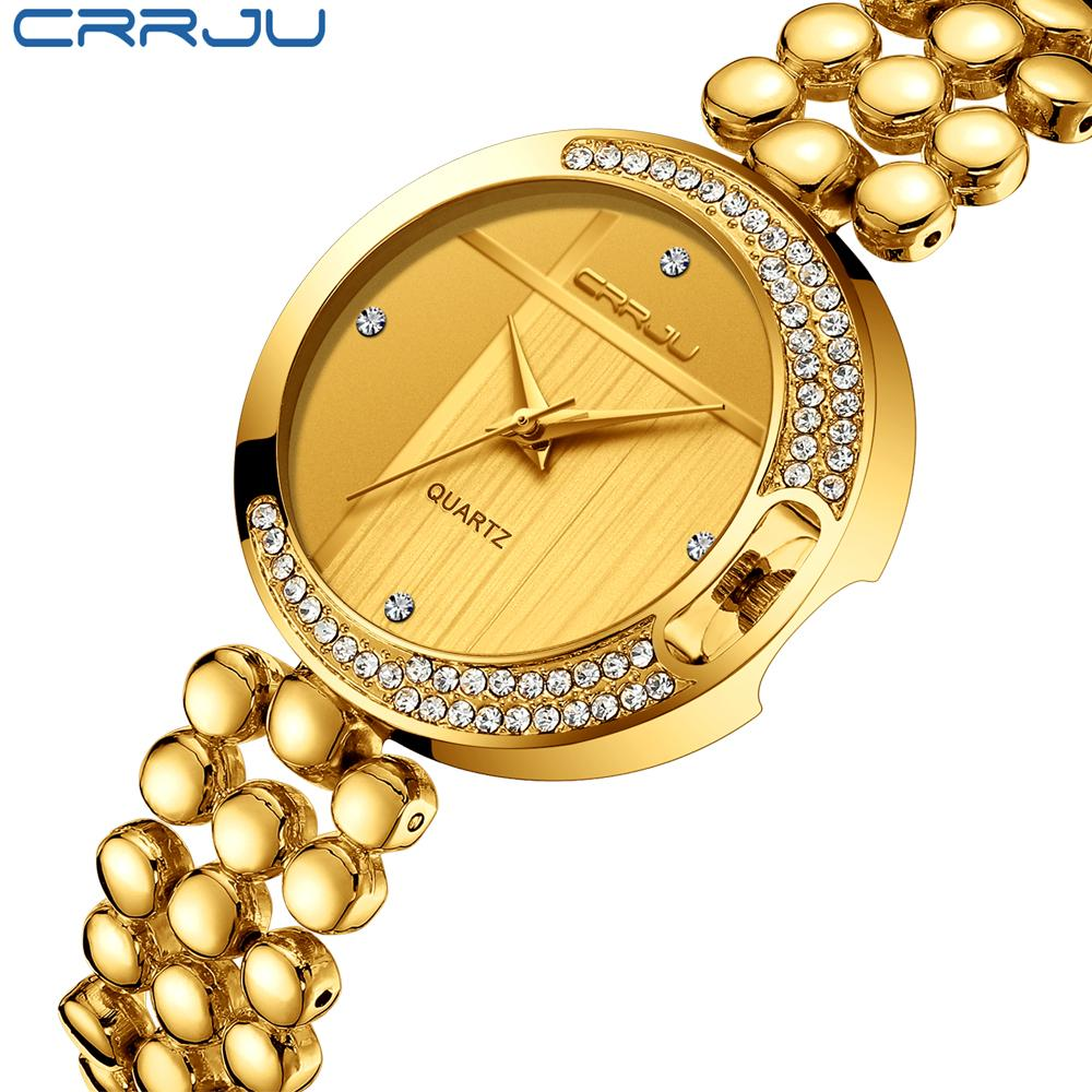 Mode Femmes Montres CRRJU Top Marque Luxe Dial Star Sky Clock Luxe Rose Bracelet or Femmes Montres Quartz de relogio