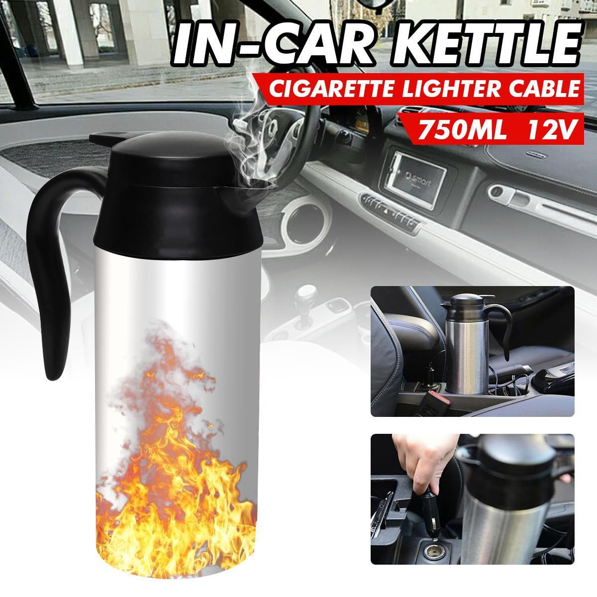 12V en acier inoxydable bouilloire électrique 750ml In-Car Voyage Voyage Café Thé chauffée Tasse moteur à eau chaude pour voiture ou camion utilisation à chaud