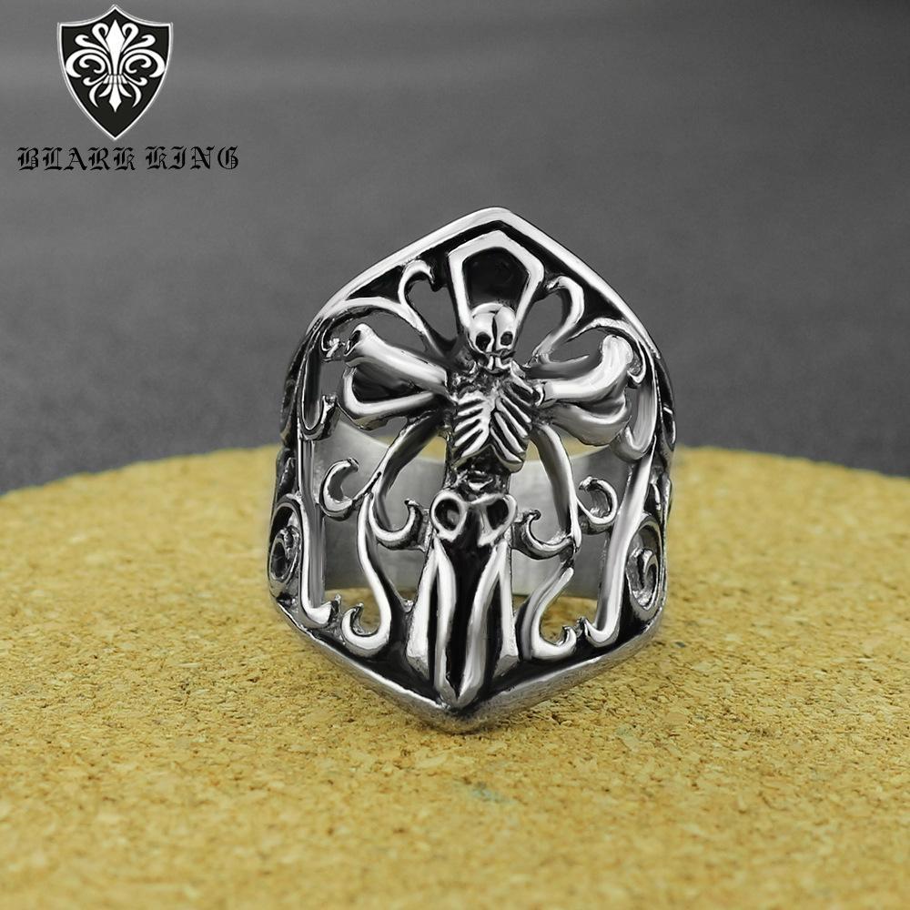 2020 neuer Art-Ring Kühler Schädel Großer Ring Retro Fashion Edelstahl Dekorative Schädel-Ring UsSize