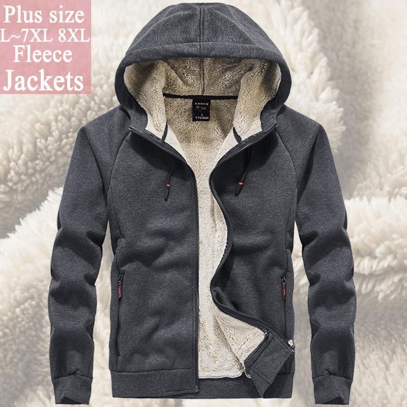 Men`s manteau veste polaire coupe-vent outwear hiver hommes 6XL 7XL 8XL fourrure hoodies manteau tactique Soft Shell de couleur soild