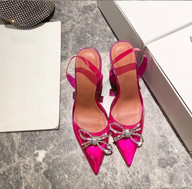 bowtie delle donne del vestito sandali col tacco alto sandali gladiatore in pvc trasparente sandali femminili di promenade del partito di estate 2020ss signore Spike Shoes mujers