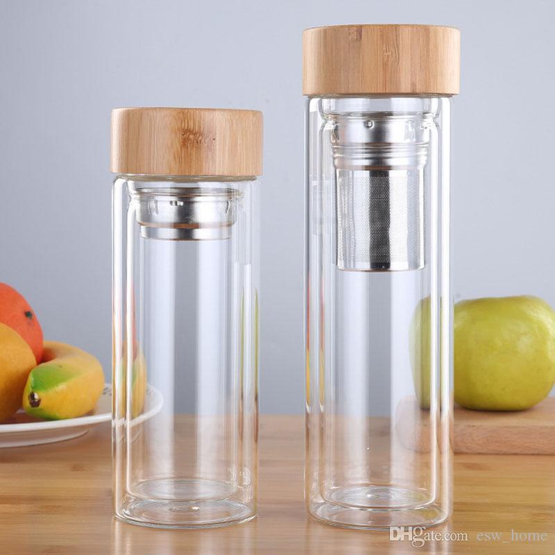 Bamboo крышка стеклянная бутылка с чаем Infuser Фильтр вакуумными присосками слой Анти Scald Стеклянная бутылка для путешествий