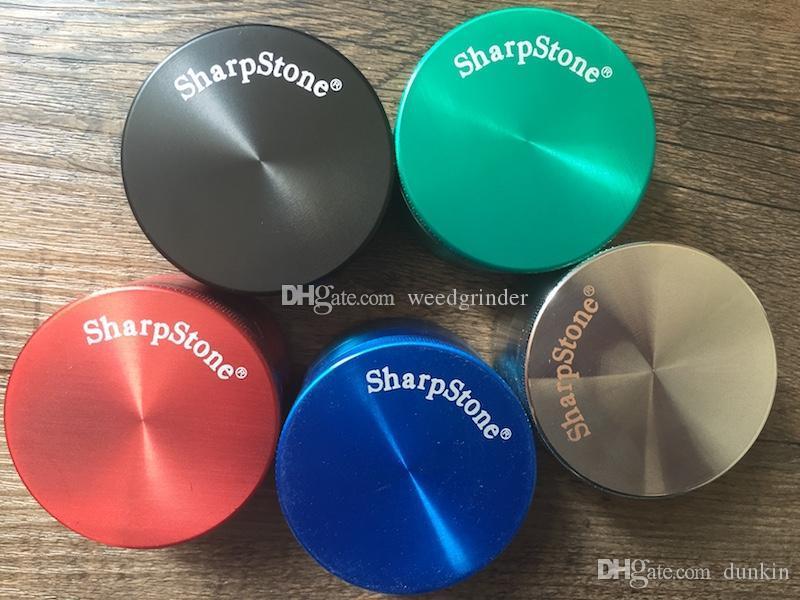 Оптовая 40мм / 63ммы 4layer дешевого металл SharpStone табак мясорубка красочного качество бренд острого камень трава мясорубка для курения Бесплатной доставки