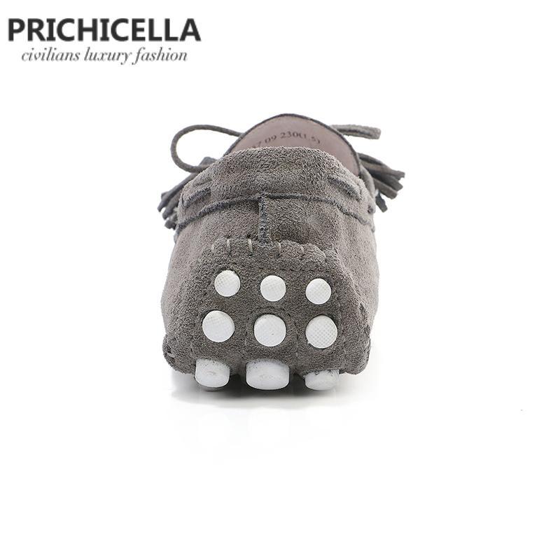 ПРИЧИЧЕЛЛА серая замша кожаные туфли на плоской подошве удобные мокасины ленивая обувь