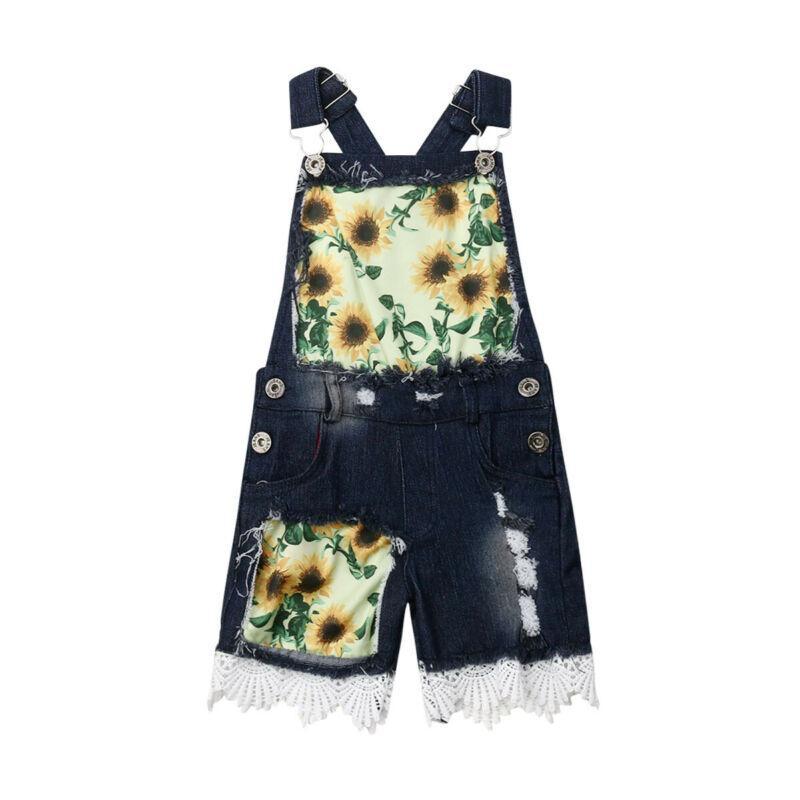 1-6Y bambino bambini vestiti di estate delle neonate pagliaccetto denim Salopette pantaloni bambino Outfit