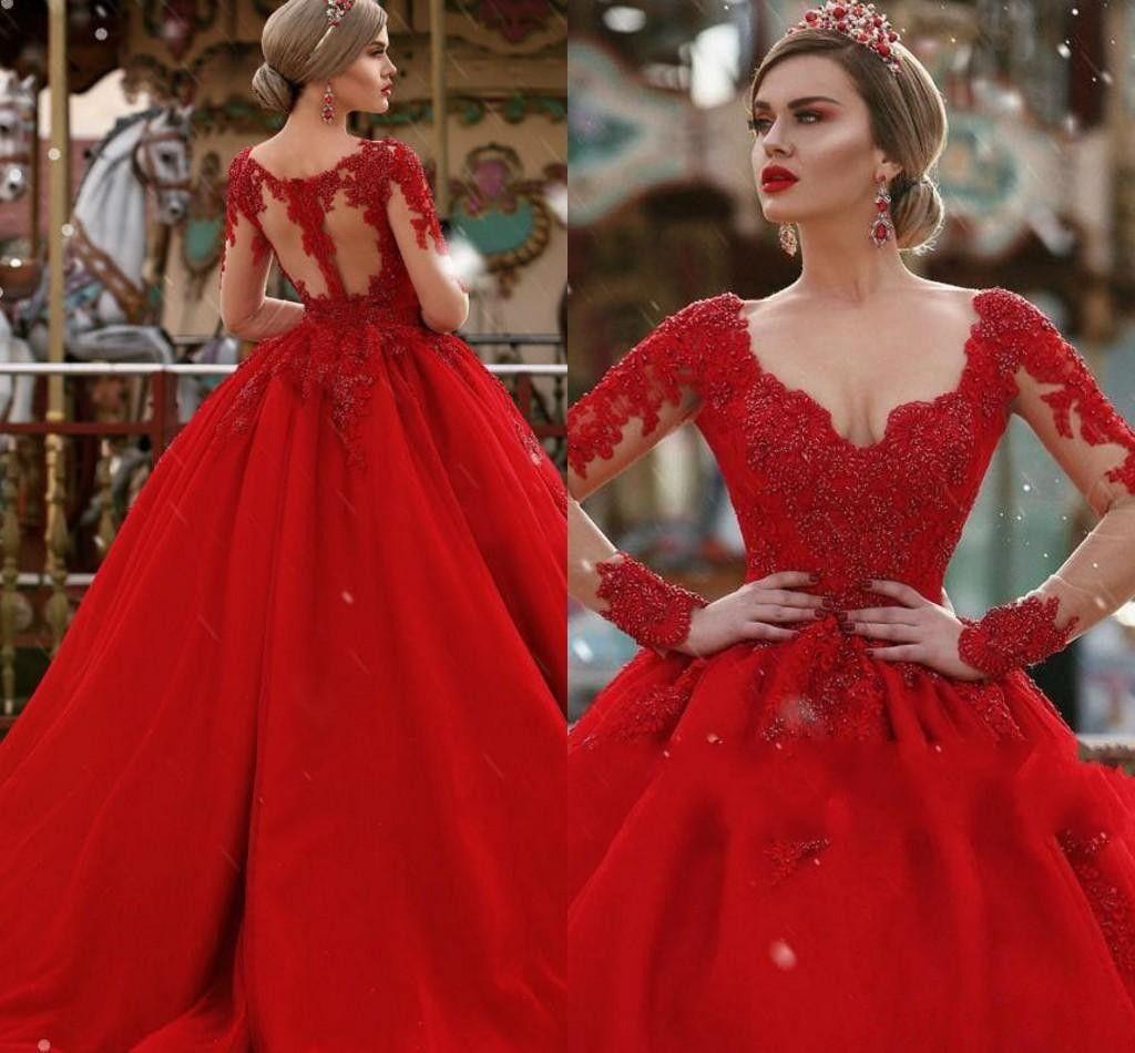 New Luxury Escuro Vermelho Quinceanera Vestido De Baile Vestido De V Neck Lace Apliques Frisada Puffy Doce 16 Mangas Compridas de Baile de Finalistas Vestidos Formais Vestidos