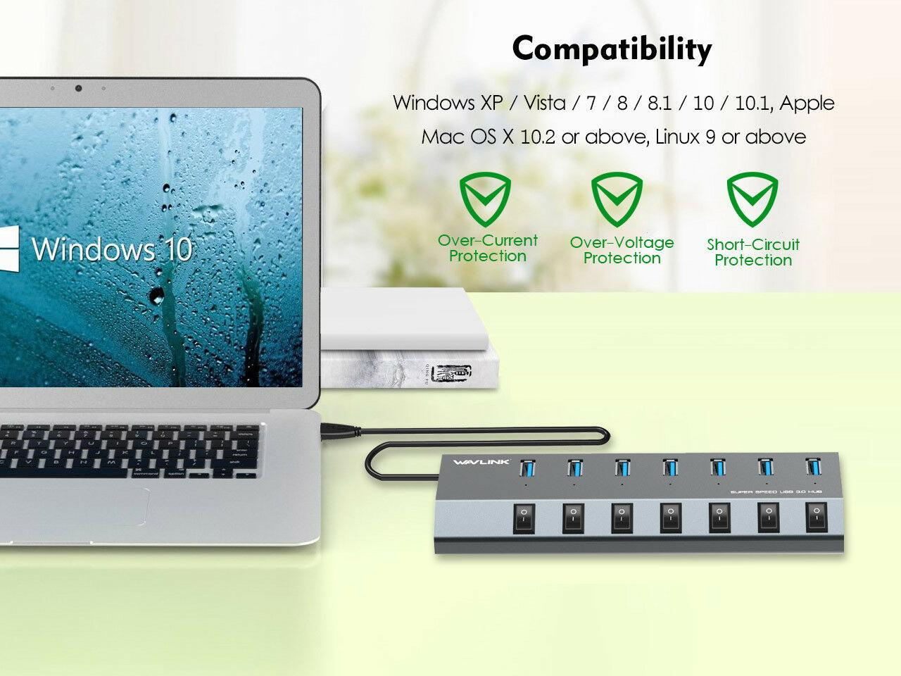 Wavlink 7Port USB3.0 Superspeed Hub/&48W Power Adapter/&with BC1.2Charging Support