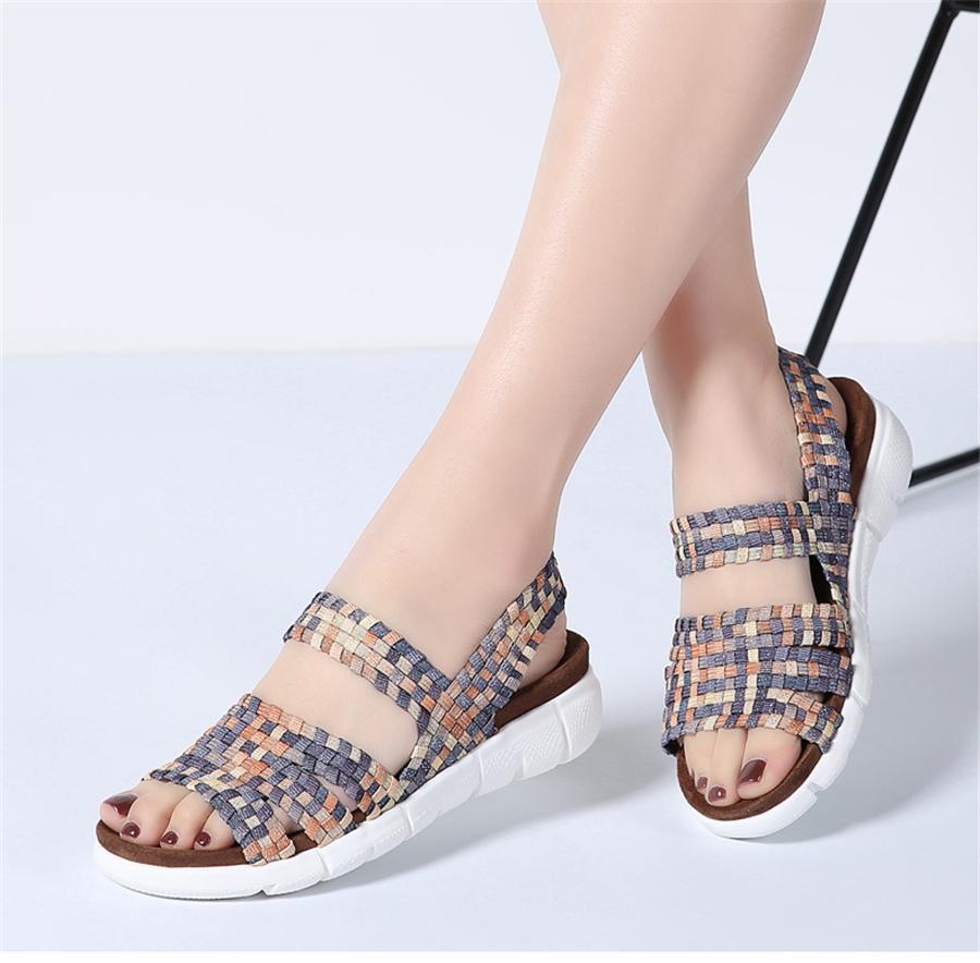 STQ 2019 kadın düz sandalet ayakkabı kadın dokuma kama sandalet ayakkabı bayanlar plaj yaz slingback sandalet ayakkabı 802 flipfloplar